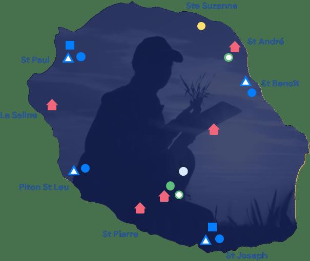 Carte de la Réunion sur la formation éleveurs